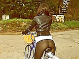 Ass Pictures Hot Girl with Amazing Tight Ass on Bicycle