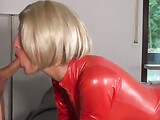 Hot Woman in Red Latex Fucked in the Ass